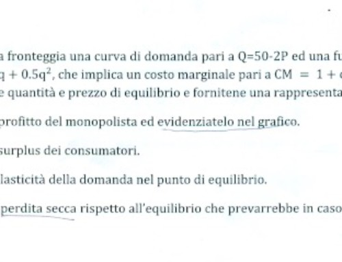 Monopolio esercizio svolto. Prof Giovanni Carlini
