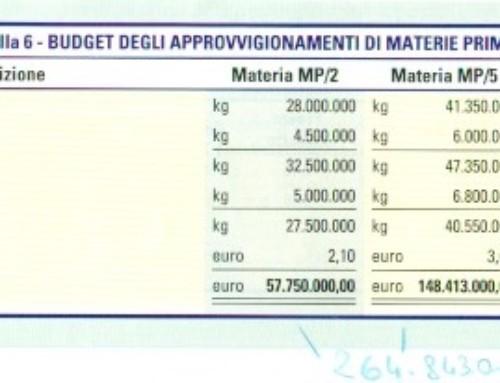 Budget dei consumi di materie prime e degli approvvigionamenti